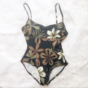 Vintage Hawaiian Print Swimsuit Bodysuit Sz10